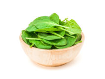 Spinach leaf in wooden bowl isolated on white background Stock Photography
