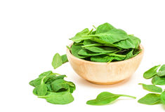 Spinach leaf in wooden bowl isolated on white background Royalty Free Stock Photos