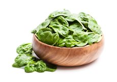Spinach leafs in wooden bowl isolated on white background. Spinach  leafs in wooden bowl isolated on white background Royalty Free Stock Image