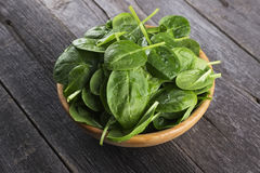 Spinach leaves in bowl on dark wooden background.  Royalty Free Stock Image