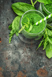 Spinach leaves smoothie. Detox concept Stock Photo