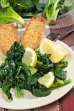 Spinach with lemon Royalty Free Stock Image