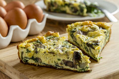 Spinach Mushroom and Egg Frittata royalty free stock images