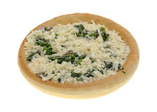 Spinach mushroom frozen pizza on a white background Royalty Free Stock Photo