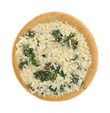 Spinach mushroom frozen pizza on a white background Stock Photo