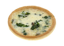 Spinach mushroom personal pizza on a white background Royalty Free Stock Photo