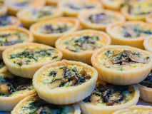 Spinach mushroom quiche pie. Stock Photo