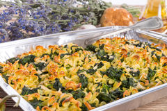 Spinach noodle crowd au gratin Royalty Free Stock Photos