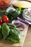 Spinach and other Fresh Ingredients Royalty Free Stock Photography