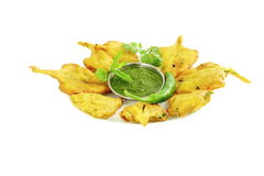 Spinach pakoda or fritter indian food snack in pure white background Royalty Free Stock Image