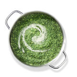 Spinach in pan. Top shot of spinach in a pan Stock Photo