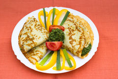 Spinach pancake Royalty Free Stock Images