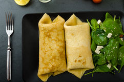 Spinach pancakes with feta cheese Royalty Free Stock Image
