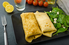Spinach pancakes with feta cheese Royalty Free Stock Photography