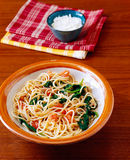 Spinach pasta Stock Photography