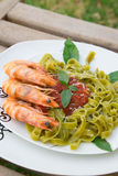 Spinach pasta with shrimps and tomato sauce Royalty Free Stock Photography
