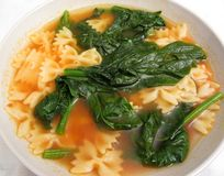 Spinach and Pasta Soup Stock Photos