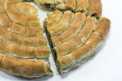 Spinach pastry, ıspanaklı börek. Dough pastry with Spinach, ıspanaklı börek Royalty Free Stock Photo