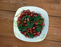 Spinach with Peanuts Stock Images