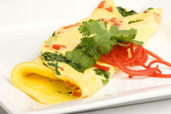 Spinach and pepper omelet Royalty Free Stock Photos
