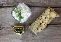 Spinach pie baked on a wood-fired (Turkish Borek) Royalty Free Stock Photo