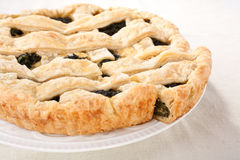 Spinach pie piece on white plate Royalty Free Stock Image