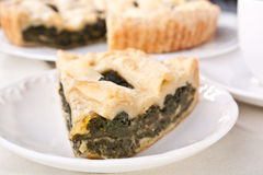 Spinach pie piece on white plate Stock Photography