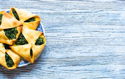 Spinach pie with ricotta cheese Stock Photos