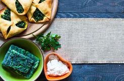 Spinach pie with ricotta cheese Royalty Free Stock Images