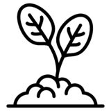 Spinach plant icon, outline style vector illustration