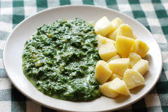 Spinach and potatoes Royalty Free Stock Photos