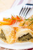 Spinach puff pastry ready to be serve Stock Photography
