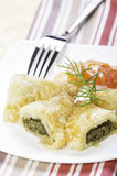 Spinach puff pastry ready to be serve Royalty Free Stock Image