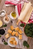Spinach puffs with feta cheese. stock photo
