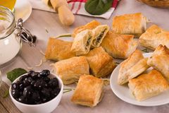 Spinach puffs with feta cheese. royalty free stock image