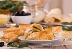 Spinach puffs with feta cheese. stock image