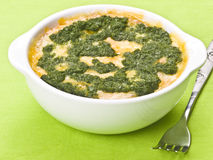 Spinach quiche. Close up of delicious spinach quiche Royalty Free Stock Photos