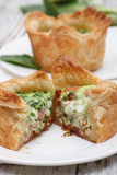 Spinach quiche. With dried tomato and ham Royalty Free Stock Image