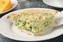 Spinach quiche with cantaloupe Royalty Free Stock Photos