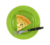 Spinach Quiche On Green Plate With Fork Royalty Free Stock Photo