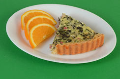 Spinach Quiche with Ham and Cheese Royalty Free Stock Images