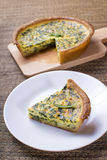 Spinach quiche portion Royalty Free Stock Photography