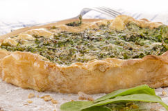 Spinach quiche and some fresh spinach Royalty Free Stock Images