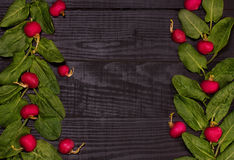 Spinach and radishes. Fresh spinach and radishes in the pattern on black background wooden table Royalty Free Stock Images
