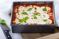 Spinach, ricotta and bacon lasagna Stock Photo
