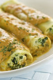 Spinach and ricotta cannelloni Royalty Free Stock Images