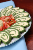 Spinach roll with eggs and cheese stock photo