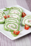Spinach roll with garlic cheese and ham Royalty Free Stock Photo