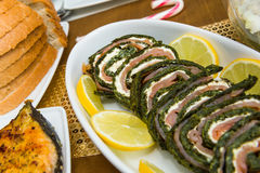 Spinach roll. Home made roll of spinach, smoked salmon and cream cheese Royalty Free Stock Photo