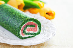 Spinach roll Stock Image